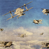 Retro airplanes on grunge texture. 3d retro airplanes against blue sky on grunge texture royalty free illustration