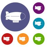 Retro airship icons set. In flat circle red, blue and green color for web Stock Images