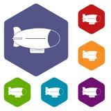 Retro airship icons set hexagon. Isolated vector illustration Stock Photo