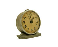 Retro alarm clock. Old alarm clock. Silver body and yellow-brown dial Stock Image