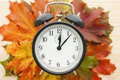 Retro alarm clock on autumn leaves.