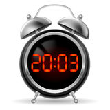Retro alarm clock with digital face. Royalty Free Stock Photography