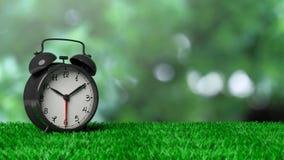 Retro alarm clock on grass Stock Photography