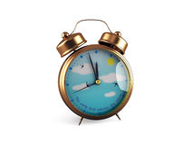 Retro Alarm clock isolated on white. 3d render Stock Images