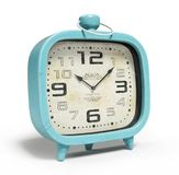 Retro alarm clock isolated on white background 3D rendering Stock Photos
