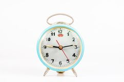 Retro alarm clock isolated on white background Stock Photos