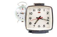 Retro alarm clock isolated on white background Royalty Free Stock Images