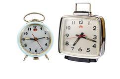 Retro alarm clock isolated on white background Stock Images