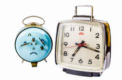 Retro alarm clock isolated on white background Stock Photography