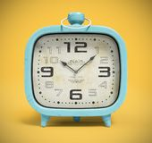 Retro alarm clock isolated on yellow background 3D rendering Royalty Free Stock Photography