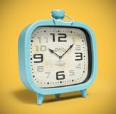 Retro alarm clock isolated on yellow background 3D rendering Royalty Free Stock Images