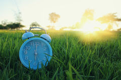 Retro Alarm Clock Over Green Grass Outdoors In The Park Stock Image