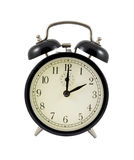 Retro alarm clock showing two hours Royalty Free Stock Photos