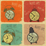 Retro Alarm Clock with text: Wake up!. Set of Vintage  Labels - Retro cards with Grunge Effect - Retro Alarm Clock with text: Wake up! - illustration Royalty Free Stock Photo