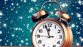 Retro alarm clock at twelve o`clock stock footage