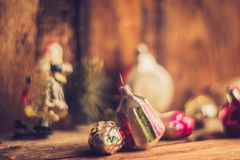 Retro Alarm Clock, Vintage Leather Suitcases, Old Fashioned Christmas Tree Decorations, copy space for your text Stock Images
