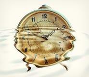 Retro alarm clock in water ripples. Royalty Free Stock Photos