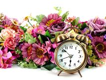 Free Retro Alarm Clock With Flowers On White Background Stock Photography - 109462782