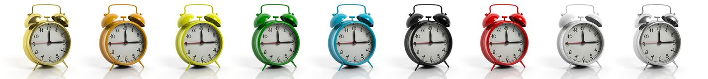 Retro alarm clocks collection in variety of colors Royalty Free Stock Images