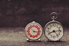 Retro alarm clocks with retro vintage efect Stock Photos