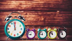 Alarm clocks on a table. royalty free stock images