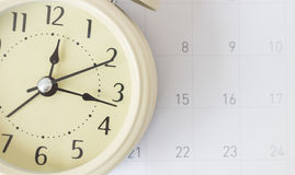 Retro alarm cock and calendar, time concept Royalty Free Stock Images