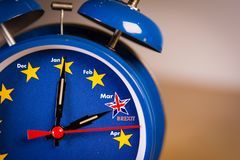 Retro alarm EU clock representing the countdown until Brexit. royalty free stock photography