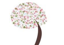 Retro albero astratto con i colori pastelli Immagini Stock