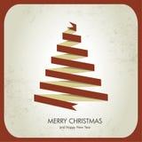 Retro albero di Natale e scheda di nuovo anno Immagini Stock Libere da Diritti