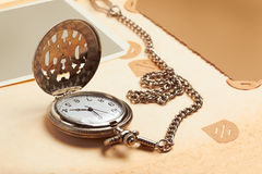 Retro album page with vintage clock Royalty Free Stock Photo