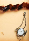Retro album page with vintage clock with chain Royalty Free Stock Photo