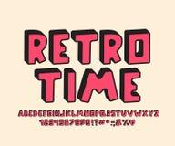 Retro Alfabet 3D ontwerp Vectorletters, getallen en leestekens royalty-vrije stock foto
