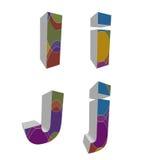 retro alfabeti funky 3D Fotografia Stock Libera da Diritti