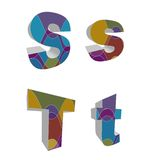 retro alfabeti funky 3D Fotografie Stock Libere da Diritti