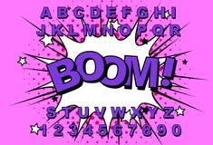 Retro alfabetkomiker vektor illustrationer