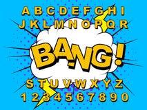 Retro alfabetkomiker royaltyfri illustrationer