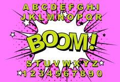 Retro alfabetkomiker stock illustrationer