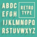 Retro alfabeto del manifesto Retro fonte con ombra Alfabeto latino le royalty illustrazione gratis