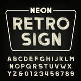 Retro alfabeto del segno Tipo d'annata lettere e numeri del tubo al neon Fotografia Stock Libera da Diritti