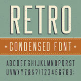 Retro alfabetvector gecondenseerde doopvont Stock Foto's