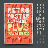 Retro alphabet for art and craft poster's design. Cut out by scissors from paper. Vector Eps10 illustration Royalty Free Stock Images