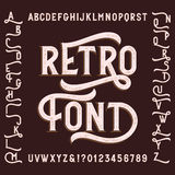 Retro alphabet font with alternates. Letters, numbers and symbols. Vintage vector typeface for your design Royalty Free Stock Image