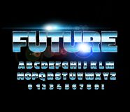 Retro alphabet font. Sci-fi future style. Vector typeface for flyers, headlines, posters etc stock illustration