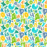 Retro alphabet pattern. Seamless pattern with cyrillic russian alphabet funny letters. Vector colorful background for print, home decor, textile design, wrapping Royalty Free Stock Photography