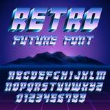 Retro- Alphabet 80s und Zahlen Lizenzfreies Stockbild
