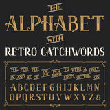 Retro alphabet vector font with catchwords. Royalty Free Stock Photos