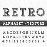 Retro alphabet vector font with distressed overlay texture. Stock Photography