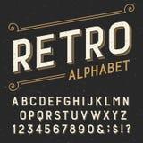 Retro alphabet vector font. Stock Photo
