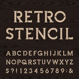 Retro alphabet vector stencil font. Royalty Free Stock Photo
