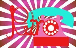 Retro-, alt, antik, Hippie, die Weinlese, alt, Scheibe, ließ rosa Telefon mit einem Rohr mit einer Retro- Aufschrift, die in schö stock abbildung